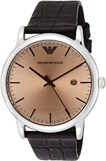Emporio Armani Men's Bronze Dial Leather Band Watch - AR11096