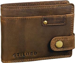 STILORD 'Finley' Cartera de Cuero para Hombres Protección RFID y NFC con Botón Pulsador Billetera con protección, Color:ma...