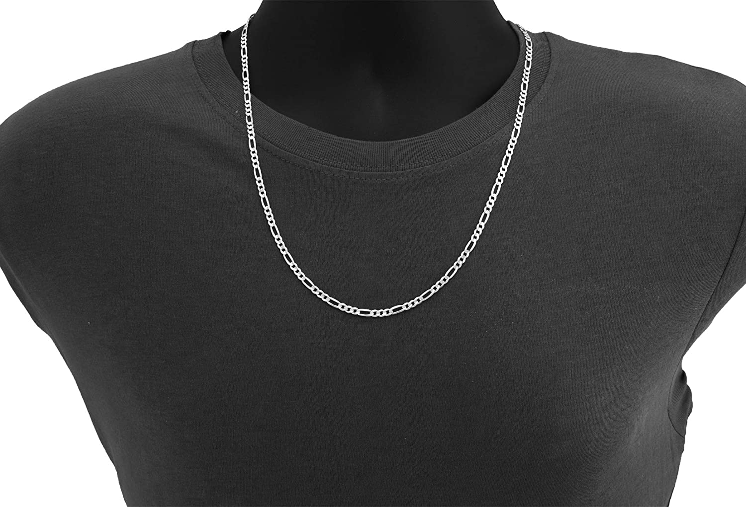 Nuragold 14k White Gold 5mm Solid Figaro Chain Link Pendant Necklace, Mens Womens Lobster Lock 20
