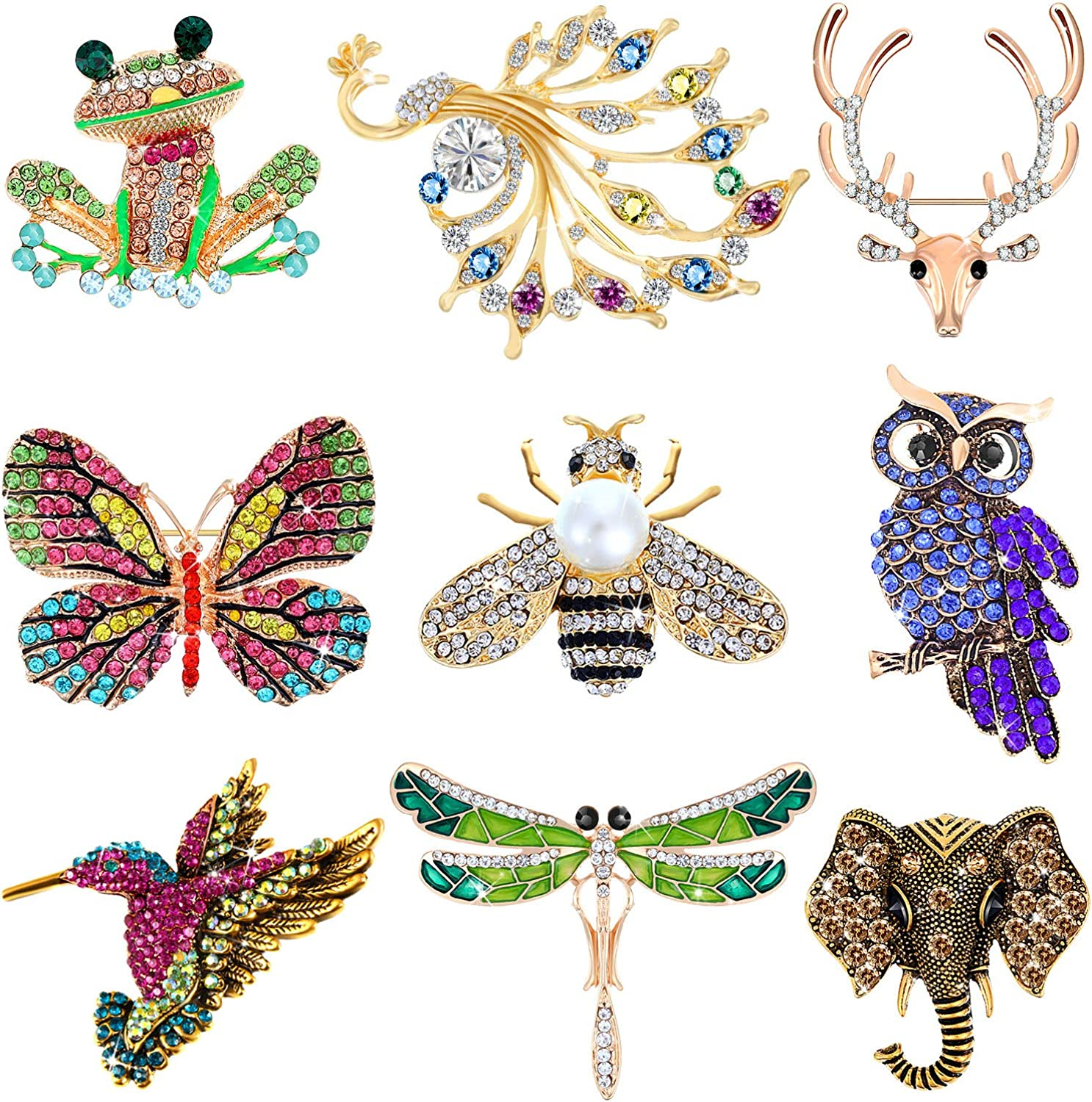 Hicarer 9 Pieces Christmas Women Brooch Set Animal Insect Brooches Crystal Pin for Women Girls