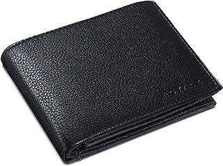 ROYALZ Geldbörse Herren Leder mit RFID-Schutz Geldbeutel kompaktes Portemonnaie Querformat Männer Brieftasche im Vintage Design, Farbe:Schwarz