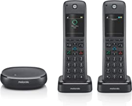 $77 » Motorola AXH02 DECT 6.0 Smart Cordless Phone and Answering Machine with Alexa Built-in – 2 Cordless Handsets Included (Ren...