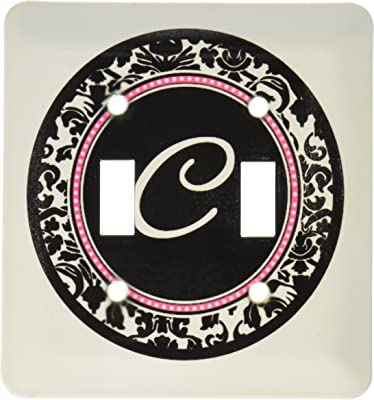 3drose Llc Lsp 154595 2 Letter C Stylish Monogrammed Circle Girly Personal Initial Personalized Black Damask Hot Pink Double Toggle Switch Switch Plates Amazon Com