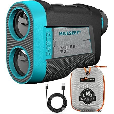 MiLESEEY Telemetro Golf con Ventosa Magnetica, Telémetro Golf 600 m con Bloqueo de Bandera y Vibración, Pendiente de Encendido/Apagado, Torneo Legal, Aumento 6X, Recarga USB, para Carritos de Golf