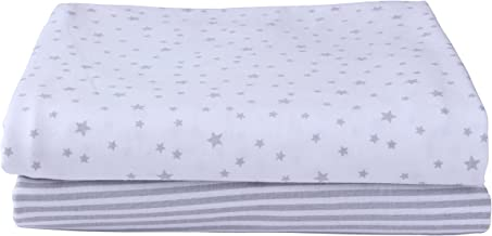 Stars & Stripes 2 Pack Fitted Pram/Crib Sheets - Grey