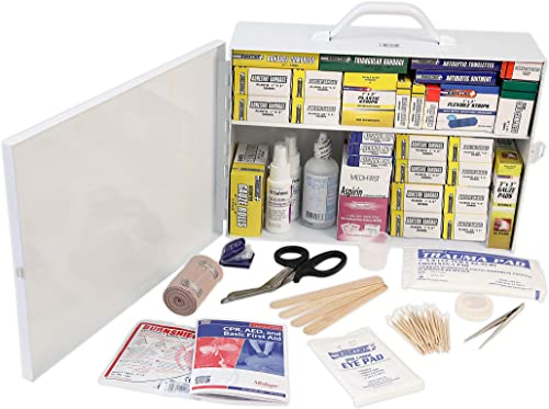 Rapid Care First Aid 80097 2 Shelf All Purpose First Aid Kit Cabinet, Class A+, Exceeded OSHA and ANSI Z308.1 2015, W...