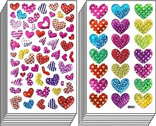 Ruisita 60 Sheets Glitter Heart Stickers Valentine's Day Love Decorative Sticker for Scrapbooking or Embellishment (Color 4)