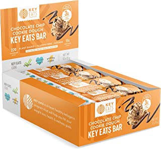 Keto Bars - 12 Count - Gluten Free Keto Friendly Bars Bars, Low Carb, Low Sugar, Kosher, High Fiber Snacks - Plant Based Protein Bars - Individually Wrapped (Chocolate Chip Cookie Dough)