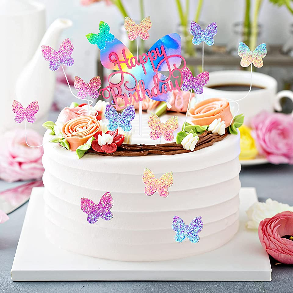 31 Pieces Butterfly Cake Toppers Gradient Sequins Color Butterfly Pink Butterfly Glitter Cupcake for Children or Adult Birthday Ornaments Dessert Decoration Baby Shower Party Supplies
