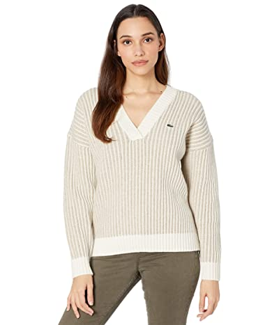 Lacoste Long Sleeve 2X2 Stitch V-Neck Wool Sweater (Heather Viennois/Farine Fonce) Women