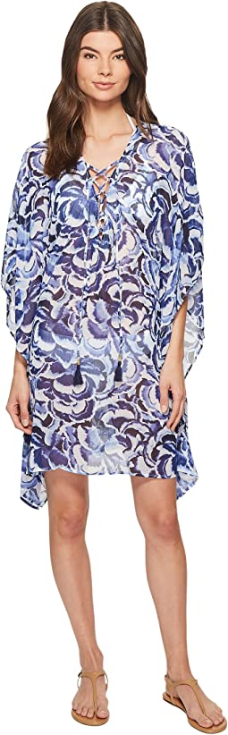 Pansy Petals Lace-Up Tunic Cover-Up
