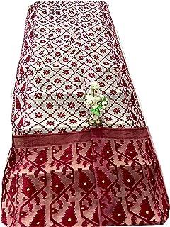 ساري هندي أبيض منسوج من القطن الناعم مزين بصورة جميلة مسلم داكا ساري 933a