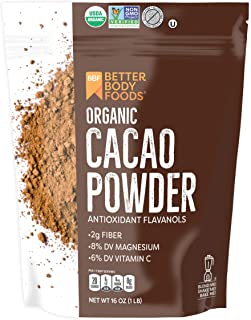 BetterBody Foods Organic Cacao Powder, Non-GMO, Gluten-Free Superfood (16 Ounce.), Cocoa
