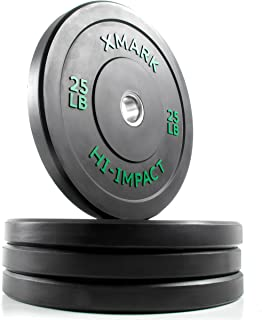 XMark Hi-Impact Bumper Plates, Three-Year Warranty, Hi-Impact Dead Bounce Commercial Olympic Bumper Weight Plates, Pairs and Sets, XM-3393