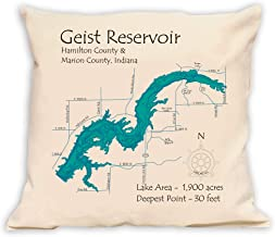 Davern Lake in Ontario, CN (1666 LA) - Pillow 16 x 16 in - Nautical Chart and Topographic Depth map.