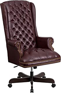 Flash Furniture High Back Traditional Fully Tufted Burgundy Leather Executive Swivel Ergonomic Office Chair with Arms