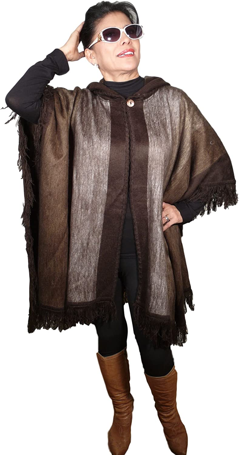 Womens Shawl Poncho Wrap Cape with Hoodie 80% Alpaca2BROWNSSILVER