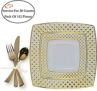 TigerChef Diamond Gold 112-Piece Plastic Dinnerware Set for 20 Guest, Plates with Silverware, includes 20 9.75-inch Plates, 20 6-inch Plates, 24 Forks, 24 Spoons, 24 Knives, BPA-Free, Disposable