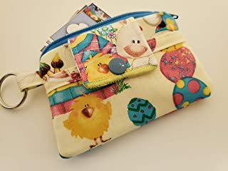 Zipper Mini Wallet Pouch Key Chain Fabric Card Holder Easter Bunnies Eggs Painter