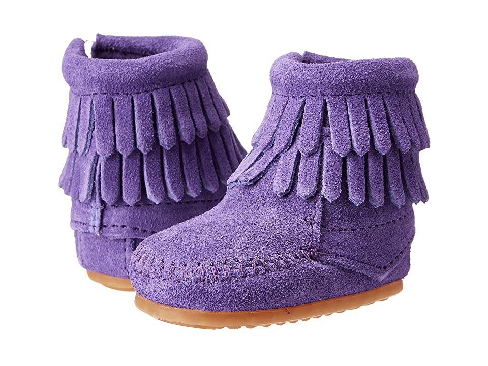Minnetonka Kids Double Fringe Side Zip Bootie (Infant/Toddler) (Purple Suede) Girls Shoes