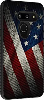 TurtleArmor | Compatible with LG G8 Case | LG G8 ThinQ Case | G820 | Slim Fitted Dual Layer Hard Armor Hybrid Engraved Grooves Shell Case - American Flag