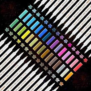 YITHINC 30 Couleurs Marqueurs Métalliques,Marqueur Métallique Stylos Premium Art Peinture Set pour Papier Noir,Bricolage,C...