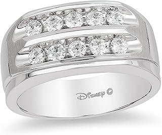 Jewelili Enchanted Disney Fine Jewelry 14K White Gold 3/4 Cttw Mens Ring.