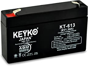 LEOCH DJW6-1.2 Battery 6V 1.3Ah Fresh & REAL 1.3Amp AGM/SLA Rechargeable Replacement Designed for Generic Use - Genuine KEYKO - F1 Terminal