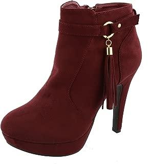 TOP Moda Women's Closed Almond Toe Tassel Platform Stiletto Heel Ankle Bootie (8 B(M) US, Wine)