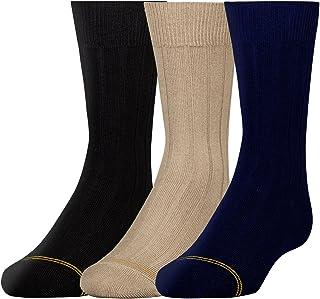 Gold Toe Boys' Wide Rib Dress Crew Socks, 3-Pair