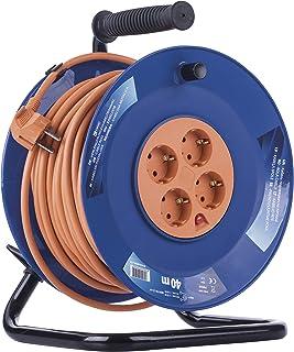 EMOS Profi-Kabeltrommel, 40m Kabel mit 4 Steckdosen, 1,5 mm Schuko, Spezialkunststoff, Einsatz im Innenbereich Für Zuhause/Werkstatt/Wohnwagen