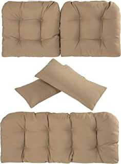 Art Leon Outdoor/Indoor Home Chair Seat Cushions 5 Pieces Seat and Back Cushion Set for Patio Deep Seat,Wicker Loveseat,Settee,Bench(Light Brown)
