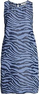 Tommy Bahama Women's Zebra Print Chambray Sleeveless Shift Dress (Medium) Blue