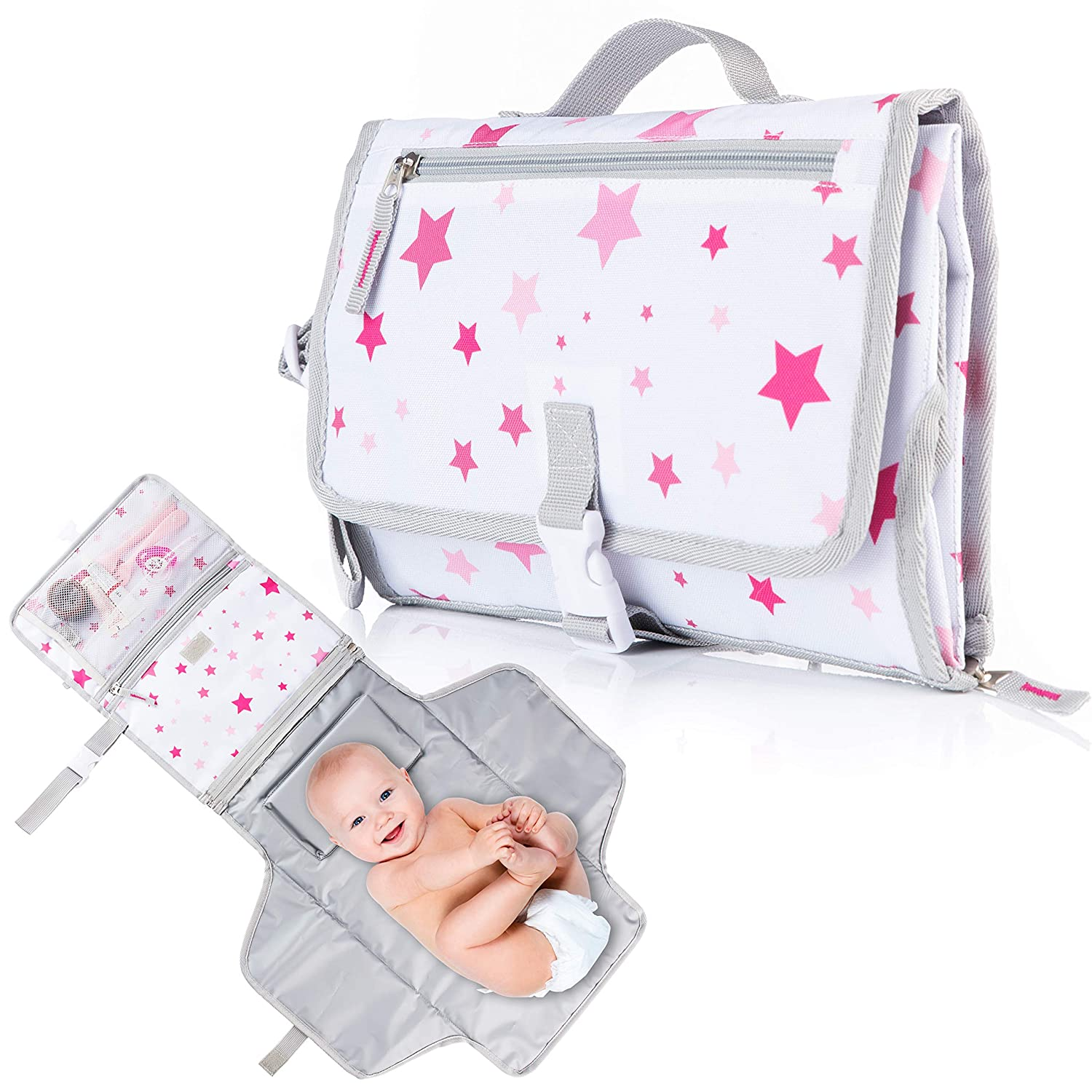 Ludivy Portable Diaper Changing Pad for Baby Girl - Diaper Clutch with Detachable and Waterproof Diaper Changing Mat, Pockets for Baby Essentials - Compact and Foldable Travel Changing Pad