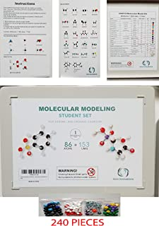 Organic Chemistry Atom Model Kit 239 pcs + 1 - College - for Classroom - Molecular Model kit Features: Atoms, Links, Removal Tool and Instructions
