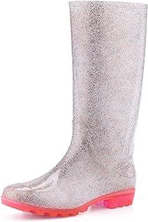 KomForme Women' s Knee High Waterproof Rain Boots Glitter, Matte and Gradient