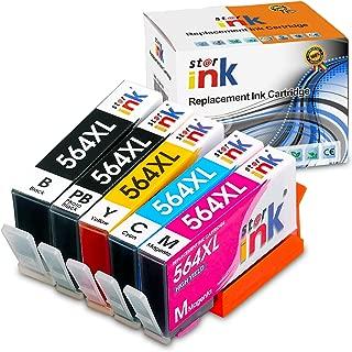Starink Comaptible Ink Cartridge Replacement for 564XL Work with Photosmart D7560 7510 7515 7520 7525 C3340 C5350 C510a C309g C310a C410a C309n 5 Pack(1 Black 1 PhotoBlack 1 Cyan 1 Magenta 1 Yellow)