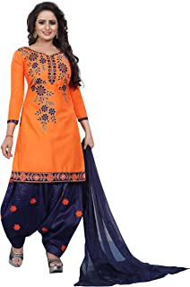 f5d8009b314d Saiyaara Fashion Women's Cotton Silk Embroidery Salwar Suit Dupatta  Unstitched Salwar Suit Material (Orrange,