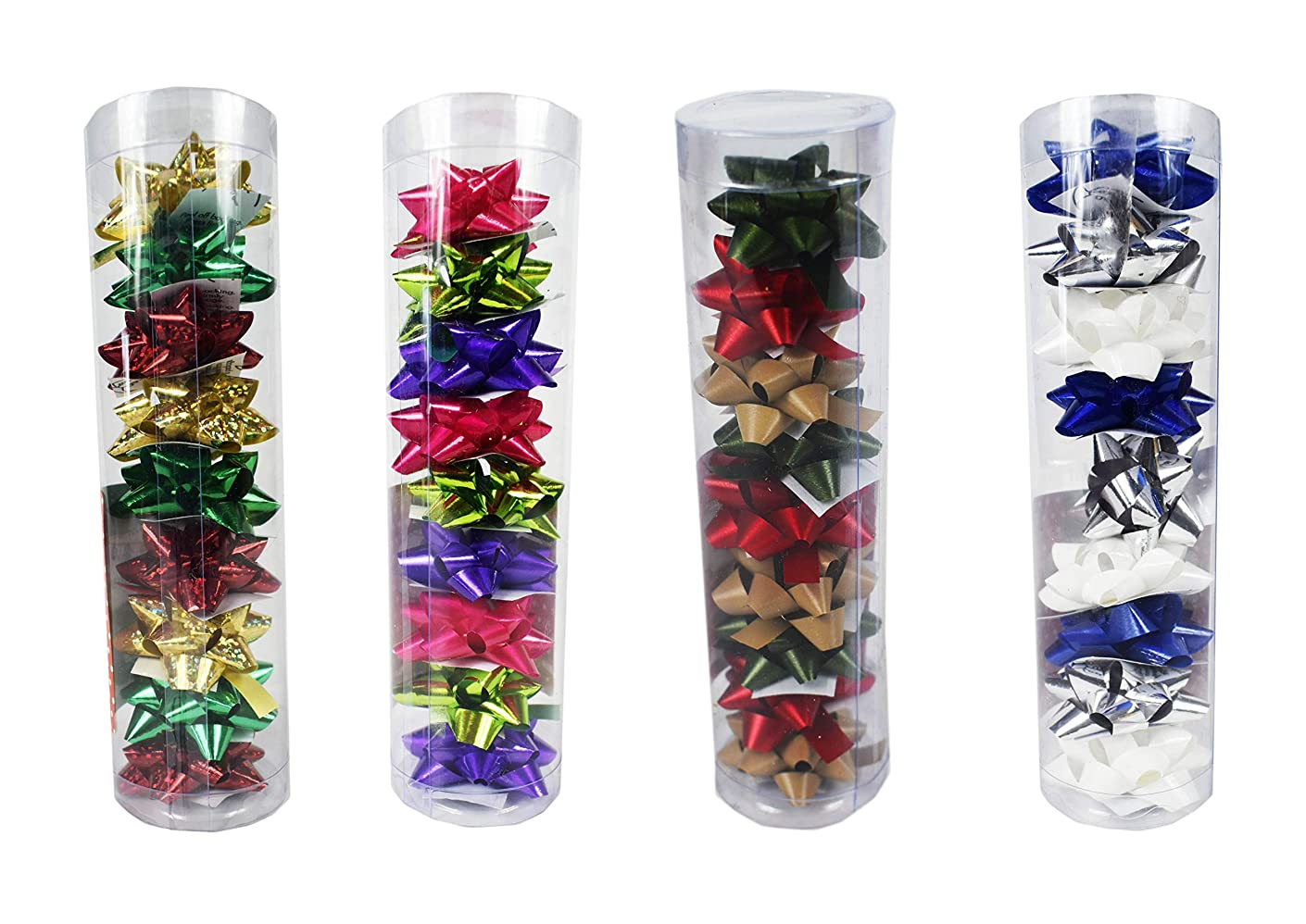 Set of 36 Mini Gift Bows! Peel-and-Stick Back! Perfect for Gift Wrapping! Featuring 12 Different Colors! (36 Mini Bows)