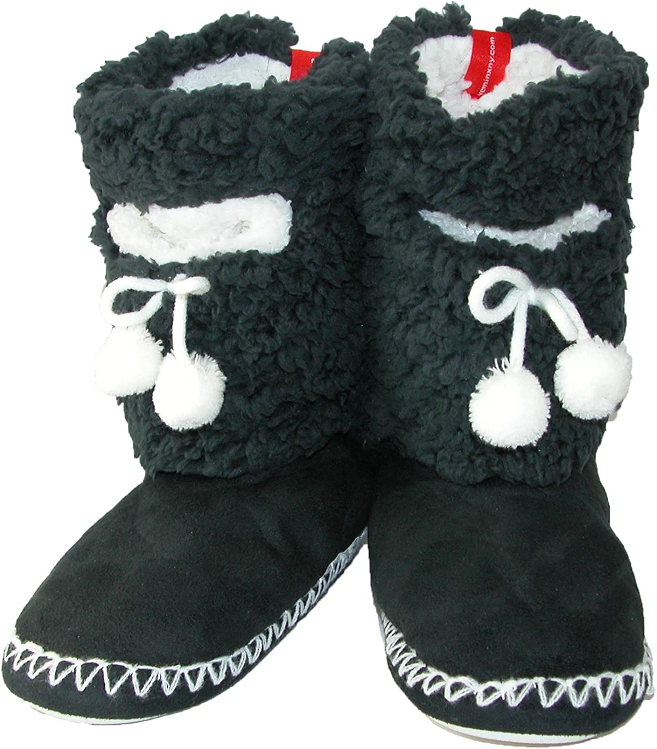 MinxNY Women's Solid color Fuzzy Boot Slippers with Phone Pocket