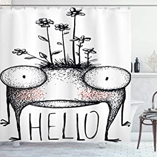 Ambesonne Quirky Decor Shower Curtain by, Funny Mutant Creature with Wild Flowers on Its Head Saying Hello Alien Mascot, Fabric Bathroom Decor Set with Hooks, 70 Inches, Black White