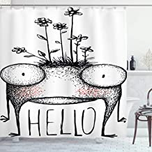Ambesonne Quirky Decor Shower Curtain by, Funny Mutant Creature with Wild Flowers on Its Head Saying Hello Alien Mascot, Fabric Bathroom Decor Set with Hooks, 75 Inches Long, Black White