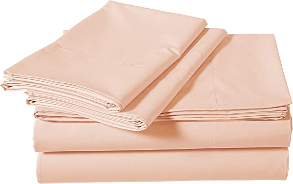 AmazonBasics Super Soft Sateen 400 Thread Count Cotton Sheet Set Full Pink Pastel