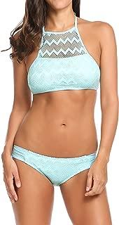 Bikini Sets Womens 2 PC Mesh Crochet Swimsuits High Neck Bathing Suits S-XXL