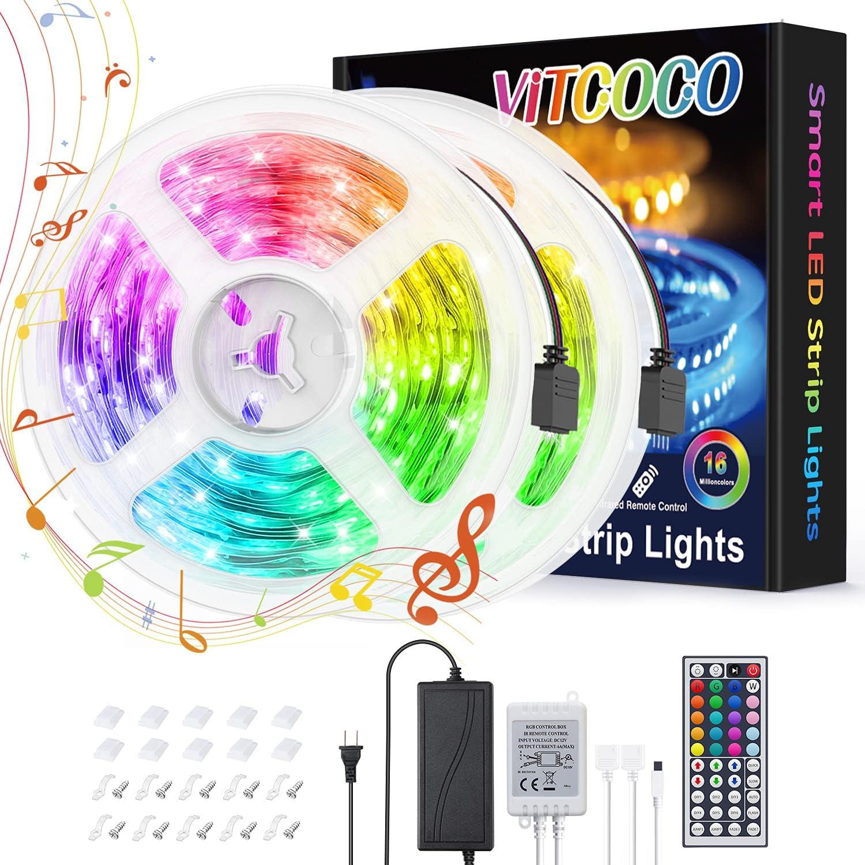 Tira Led 10m RGB, VITCOCO Luces de Tiras con control Remoto IR de 44 Teclas, 300 LEDs 5050 RGB, para Halloween, Navidad, Techo, Armario, Dormitorio, decoración de bar