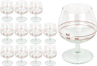 12er Set Cognacschwenker CASINO mit Rotring, 2 cl  4cl, geeichtes Cognacglas für Genießer mit Füllstrich, Likörglas, Schnapsglas für edle Tropfen, hochglänzendes Markenglas, Spirituosenglas klar