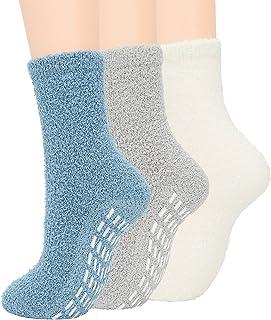Zando Non-Slip Womens Fuzzy Socks Warm Slipper Socks Non Skid Fluffy Socks Cozy Grip Socks Soft Hospital Socks Winter Plus...