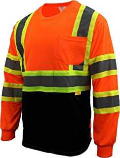 RK Safety NY BFL-T5711 High-Visibility Class 3 T Shirt with Moisture Wicking Mesh Birdseye and X pattern, Black Bottom (Neon Orange, Large)