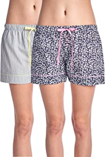 Women's 2 Pack Cotton Woven Lounge Boxer Shorts