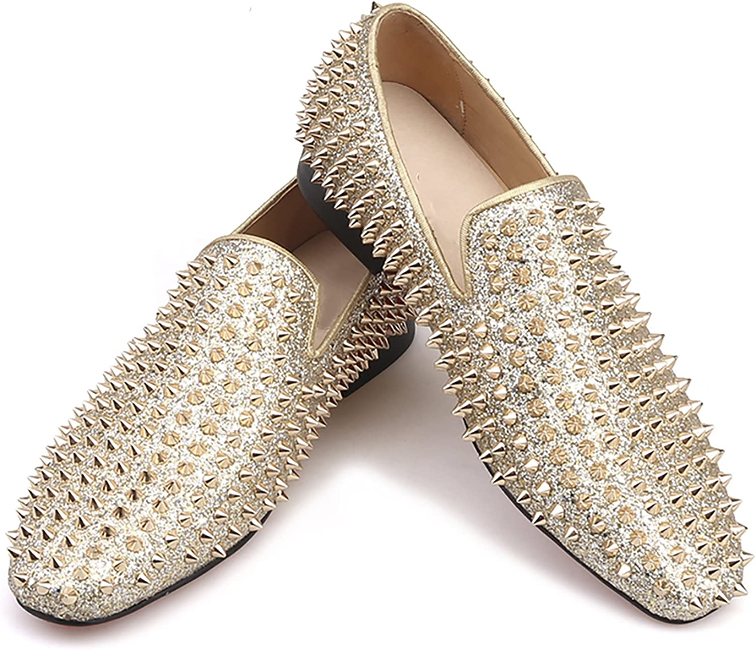 HIHANN Men Special Campaign Gold Spikes Leather Shoes Dress Loafers Prom Overseas parallel import regular item Smo